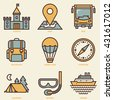 Tourism Retro Icon Set. Line Design Vector Illustrations. - stock vector