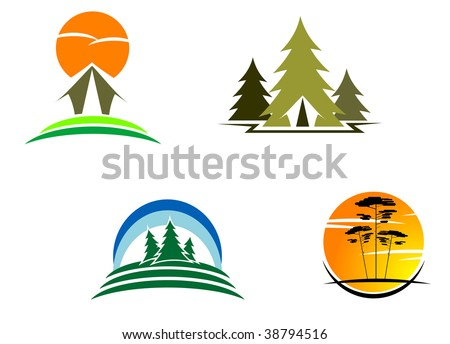 Tourism symbols for design, such as emblem or logo template. Jpeg version also available - stock vector