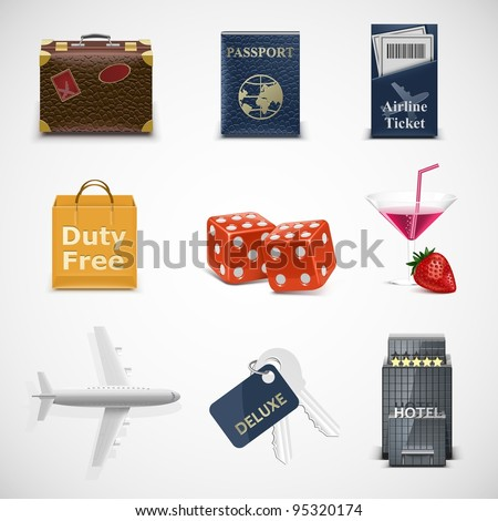 tourism vector icon set - stock vector