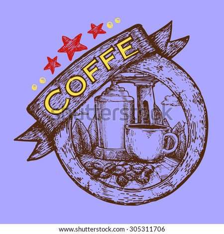 tourist and travel stamp symbol hand draw for coffee shop - stock vector