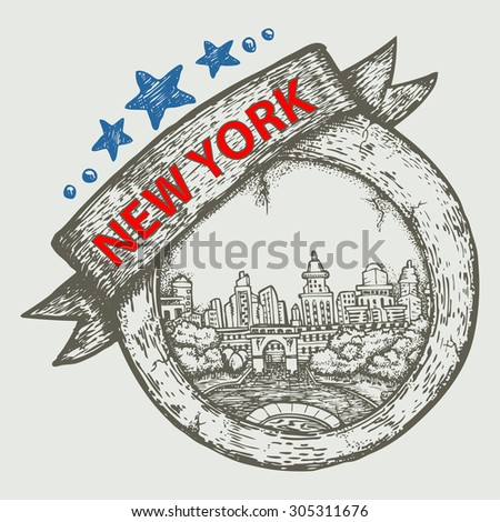 tourist and travel stamp symbol hand draw for New York city USA - stock vector