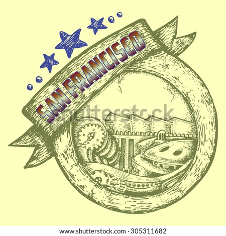 tourist and travel stamp symbol hand draw for San Francisco USA - stock vector