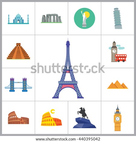 Tourist Attraction Icons Set