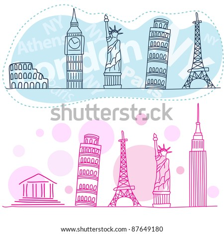Tourist attractions, travel landmarks - stock vector