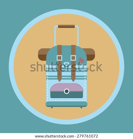 Tourist bag with wheels and handle flat icon. Travel digital vector background illustration. Summer infographics. - stock vector