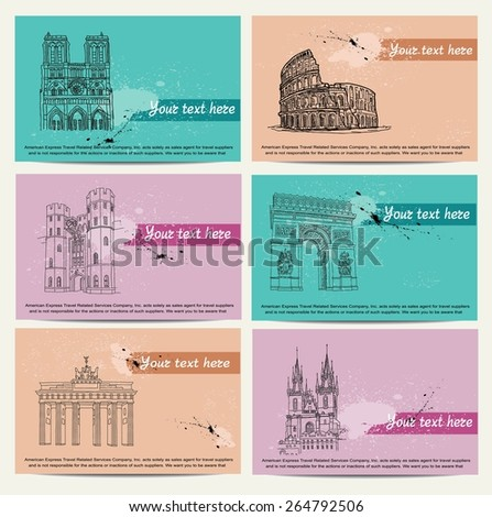 tourist cards - stock vector