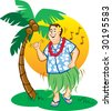 Tourist Hula Dance - stock vector