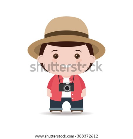 tourist in shirt and hat with camera isolated white background.