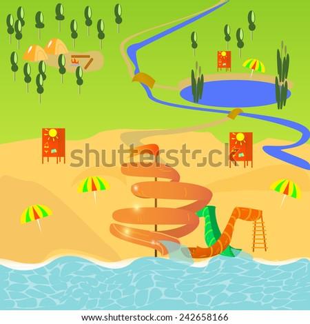 tourist map - stock vector