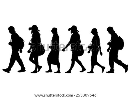 Tourist people with bags on white background - stock vector