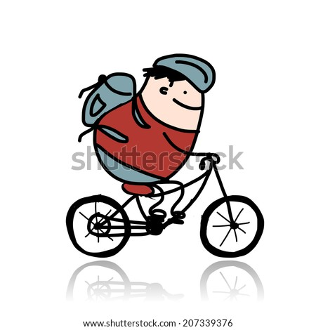 Tourist rides a bike, cartoon for your design - stock vector