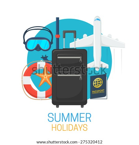 Tourist suitcase and vacation symbols. Summer tropic travel background design.  - stock vector