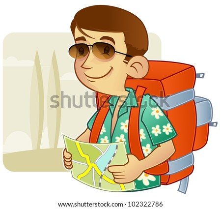 Tourist with backpack observing a direction - stock vector