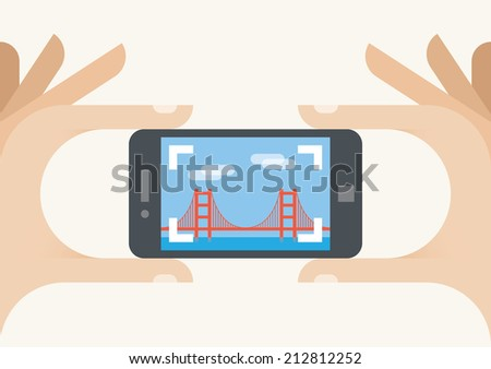Tourist with mobile phone camera. Photo of the Golden Gate bridge, San Francisco, California, United States. Idea - United states tourism, holiday, travel, famous places. - stock vector
