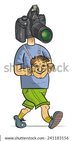 tourist with the camera instead of the head - stock vector