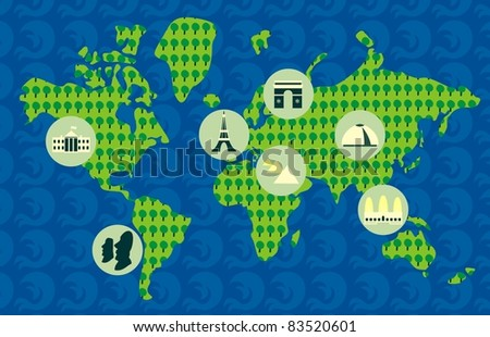 touristic map of the world - stock vector