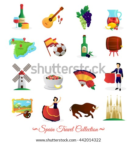 Tourists Attractions Spain National Cultural Symbols Stock Vector