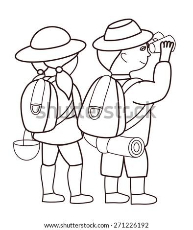 Tourists looking through binoculars (vector illustration) - stock vector