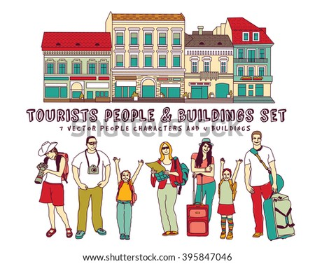Tourists people and buildings isolate on white. Color vector illustration. EPS8 - stock vector