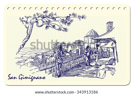 Tourists resting under the pine tree and enjoying countryside panorama in San Gimignano. Sketch imitating ink pen scribbling in a notepad. EPS10 vector illustration.