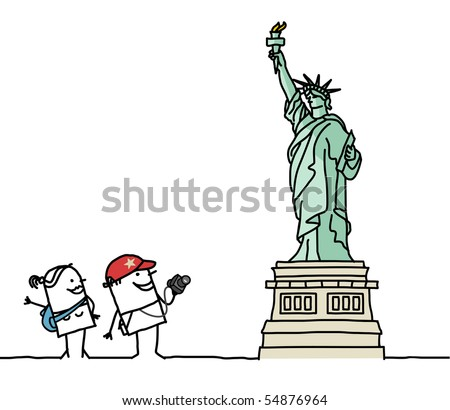 tourists & Statue of Liberty - stock vector