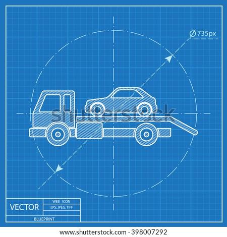 Tow car evacuation blueprint icon vector de stock398007292 shutterstock tow car evacuation blueprint icon malvernweather Choice Image