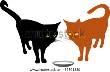 tow cats - stock vector
