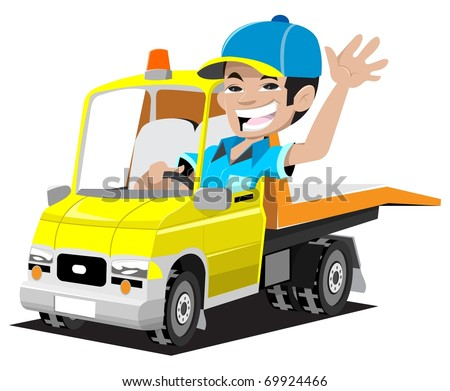 tow truck driver - stock vector