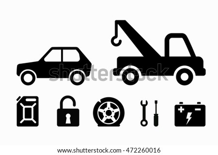 Tow truck icon. Towing set. Flat vector stock illustration