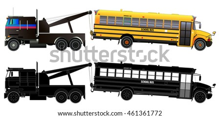Tow truck transports broke down school bus. Side view. Vector illustration. Flat style. Isolated on white