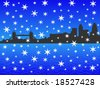Tower bridge and London skyscrapers in winter with falling snow illustration - stock vector