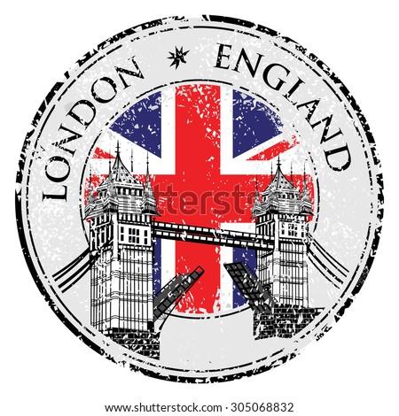 Tower Bridge grunge stamp with flag, vector illustration , London vector hand drawn illustration - stock vector