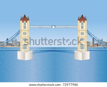 tower bridge in London ( background on separate layer ) - stock vector
