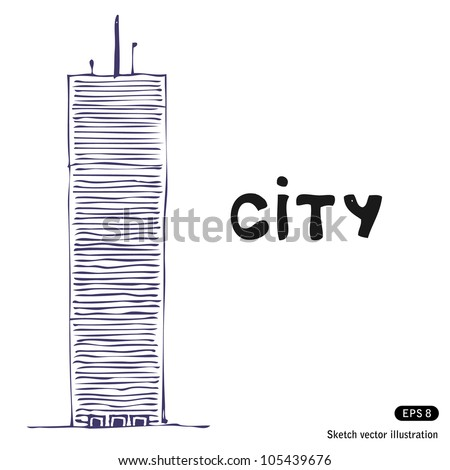 Tower building. Hand drawn sketch illustration isolated on white background - stock vector