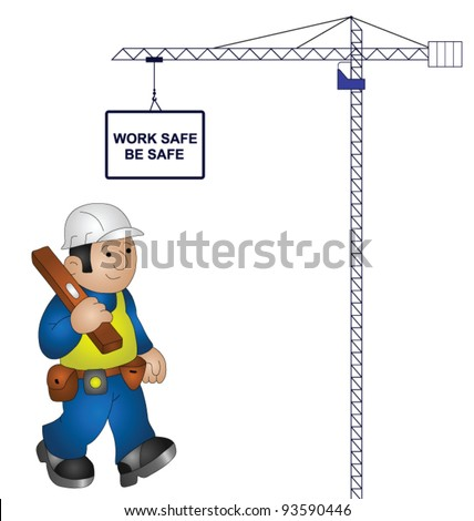 Tower crane health and safety message isolated on white background - stock vector