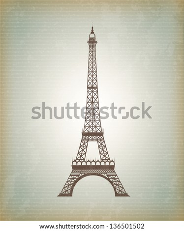 Tower Eiffel icon over vintage background vector illustration