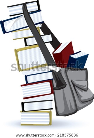 Tower Of Books and School Bag. A illustrated element suitable for academic themed designs.  - stock vector