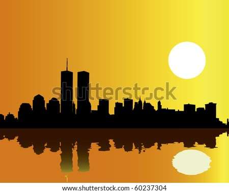 Towers twins against the orange sky and reflection in water - stock vector