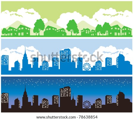 town and city - stock vector