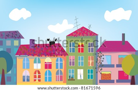 Town and houses facades cartoon - stock vector