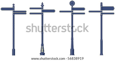 Town centre signposts - stock vector