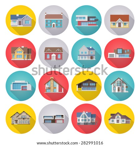 Town houses icons flat long shadow set isolated vector illustration - stock vector