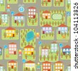 town illustration seamless pattern - stock photo