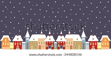 Town in winter, vector background - stock vector