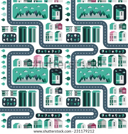 Town infographic elements. Vector city elements for create your own city map. Map elements for your pattern, web site or other type of design.Vector illustration. Seamless pattern.