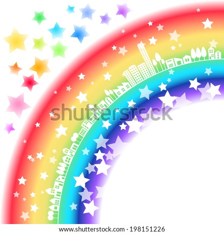 Town of Rainbow and Stars - stock vector