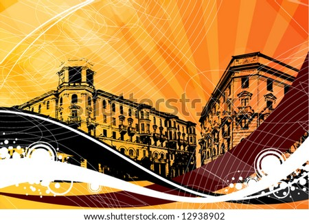 town on a decorative grunge background - stock vector
