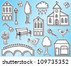 Town or city design elements  - hand drawn style - stock photo