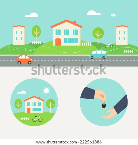 Town Street with Houses and Cars Header. Renting, Buying or Sharing Apartment Round Illustrations - stock vector