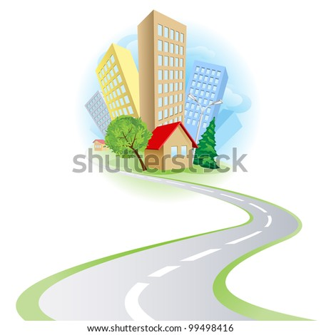Townhouses, cottages and the road. Illustration on white background - stock vector